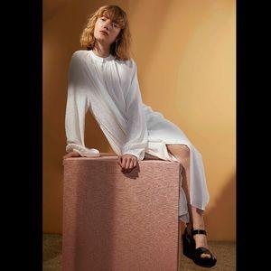 Apiece Apart Cream Shirred Georgia Dress